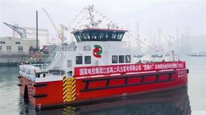 国内首艘国际先进海上风电运维船在连下水